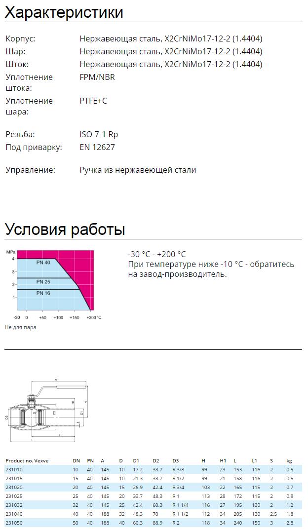Кран шаровой Vexve тип 102