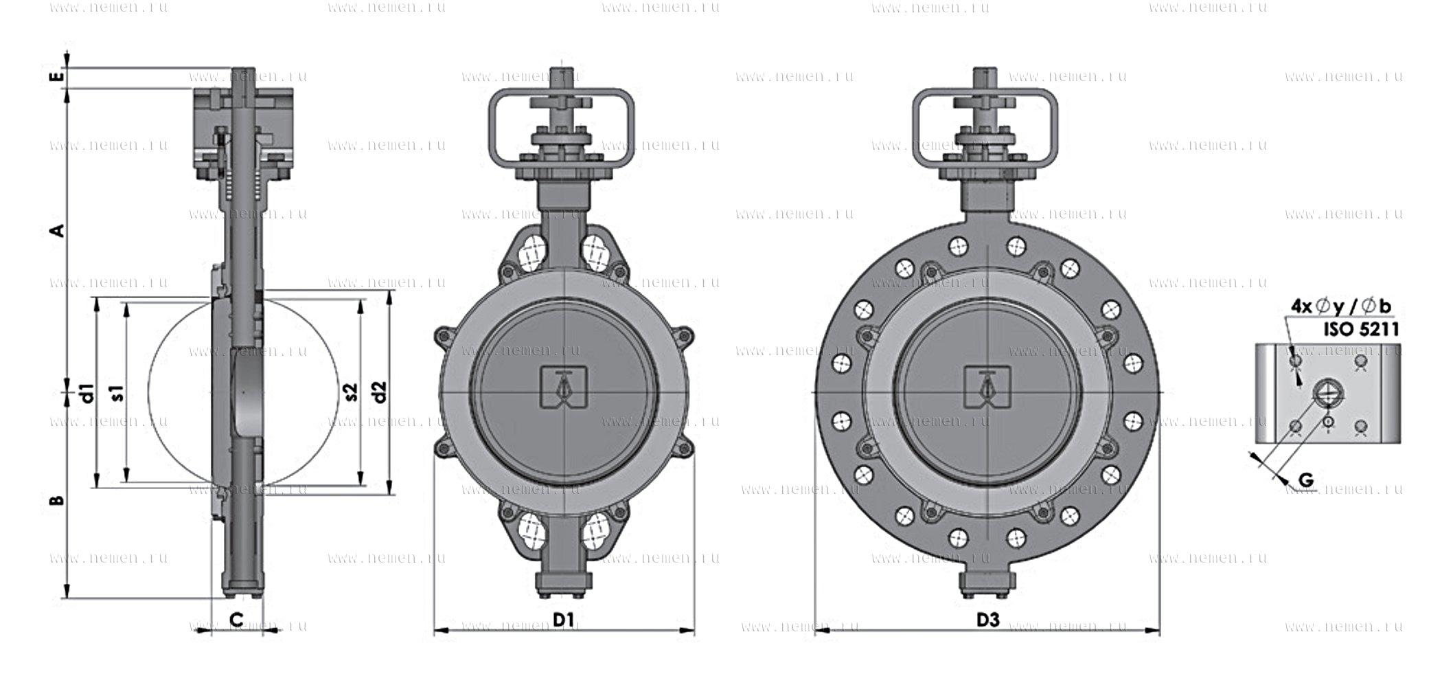 ЗД.001-2 Дисковые затворы поворотные с двойным эксцентриком разборные